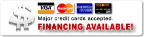 Financing available - all major credit cards accepted.